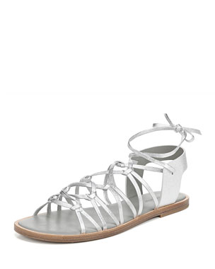 d13e9945b05 Vince Palmera Flat Metallic Leather Gladiator Sandals
