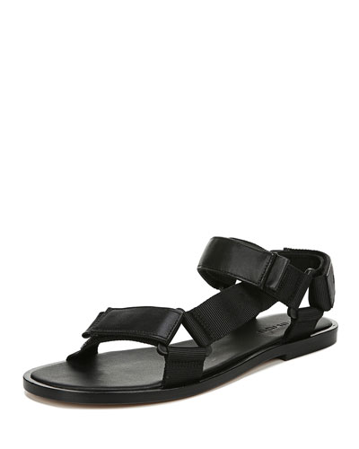 Parks Flat Leather/Nylon Grip-Strap Sandals