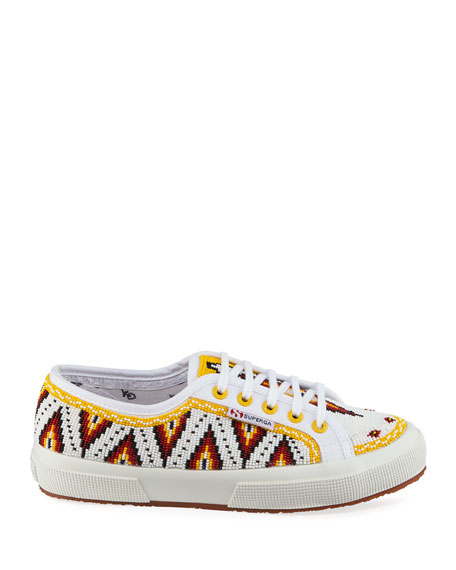 Alanui Beaded Low-Top Canvas Sneakers