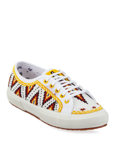 Beaded Low-Top Canvas Sneakers