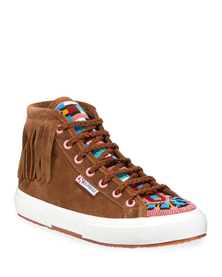 Alanui Beaded Suede Mid-Top Sneakers