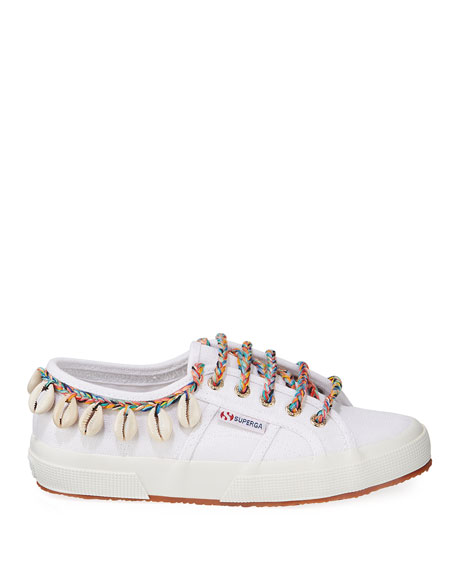 Alanui Canvas Ankle-Tie Sneakers with Seashells
