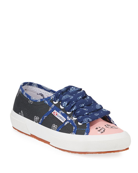 Alanui Bandana Ankle-Tie Canvas Sneakers