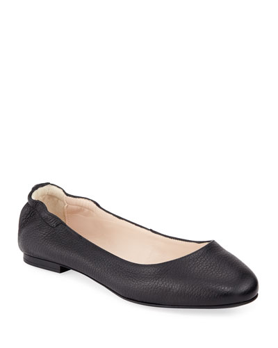 Ackley Leather Ballet Flats  Black