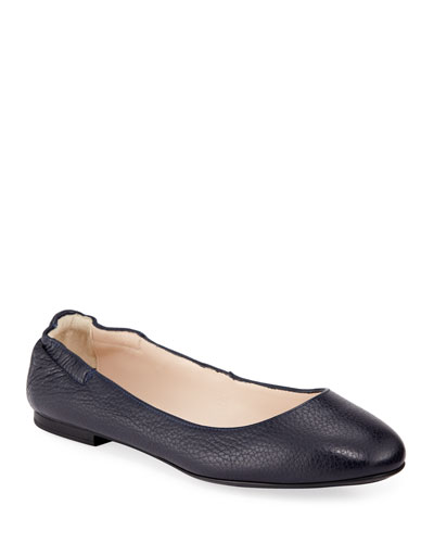 Ackley Leather Ballet Flats  Navy