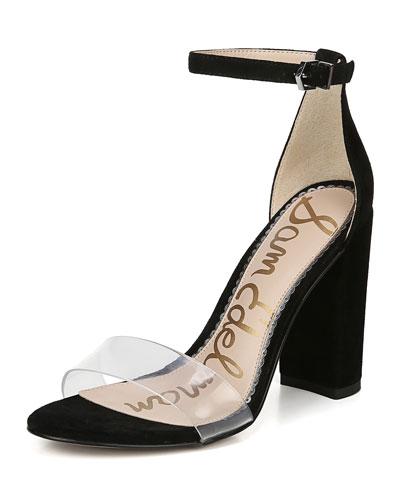 Yaro Vinyl & Suede Block-Heel Sandals