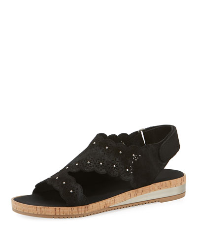 Stela Laser-Cut Suede Sandals  Black