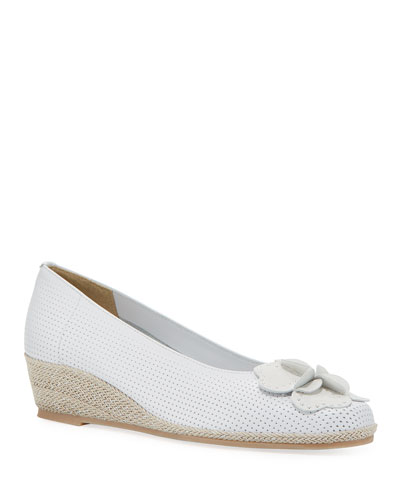 Mel Leather Wedge Espadrilles  White