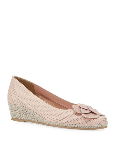 Mel Leather Wedge Espadrilles  Blush