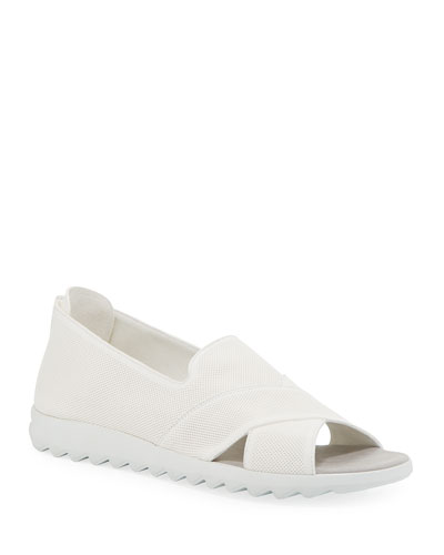 Tessa Perforated Leather Comfort Sandals  White
