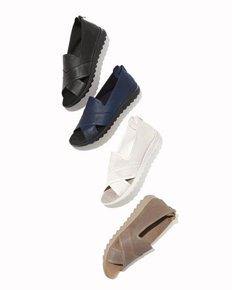 Sesto Meucci Tessa Perforated Leather Comfort Sandals, Taupe