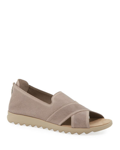 Tessa Perforated Leather Comfort Sandals  Taupe