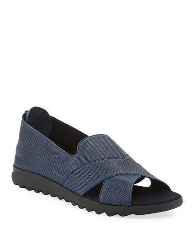 Tessa Perforated Leather Comfort Sandals  Navy