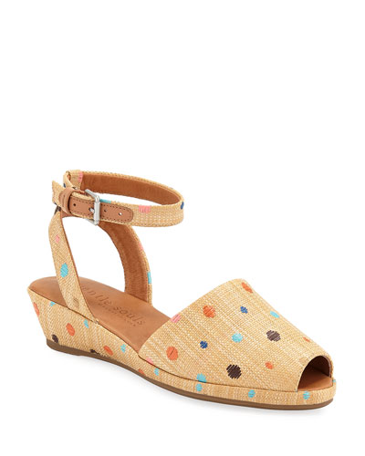 Lily Polka-Dot Demi-Wedge Sandals