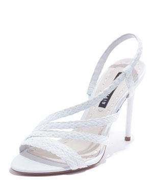 4abfcc40a9b6 Alice + Olivia Fanniey High-Heel Raffia Slingback Sandals