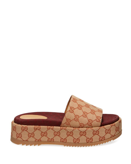 Gucci Angelina Logo Canvas Flatform Slides