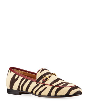 d2cf5f8bfaa4 Gucci New Jordaan Zebra-Print Calf Hair Loafers