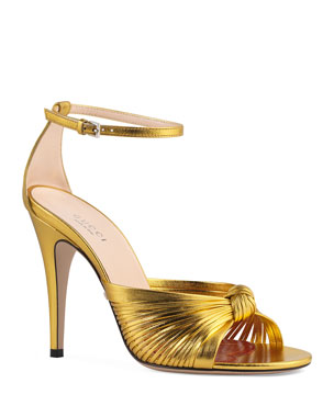 5b8dddae98b9 Gucci Crawford Metallic Leather Sandals