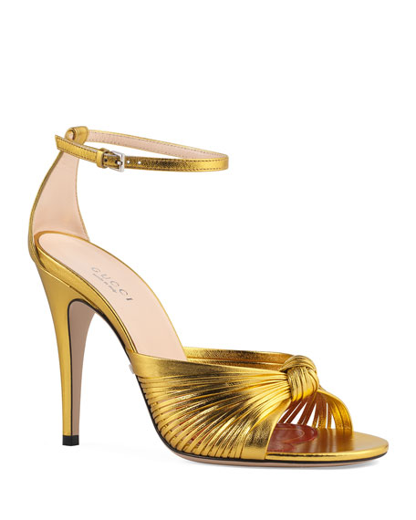 Gucci Crawford Metallic Leather Sandals