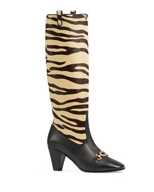 classic fit dd4ea 13fd3 Gucci Zumi Tiger-Print Knee Boots