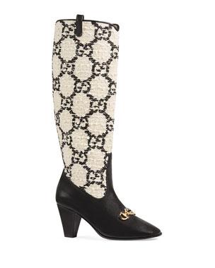 60a3235f738 Gucci Zumi GG Tweed Knee Boots