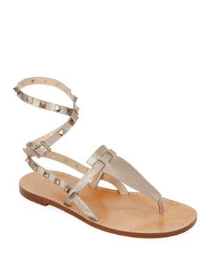 c5b5219bb89 Valentino Garavani Rockstud Alce Metallic Ankle-Wrap Thong Flat Sandals