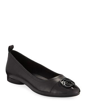 556cf568308 Taryn Rose Penelope Cap-Toe Leather Comfort Flats