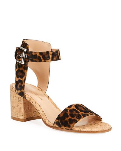 Leopard-Print Suede Sandals
