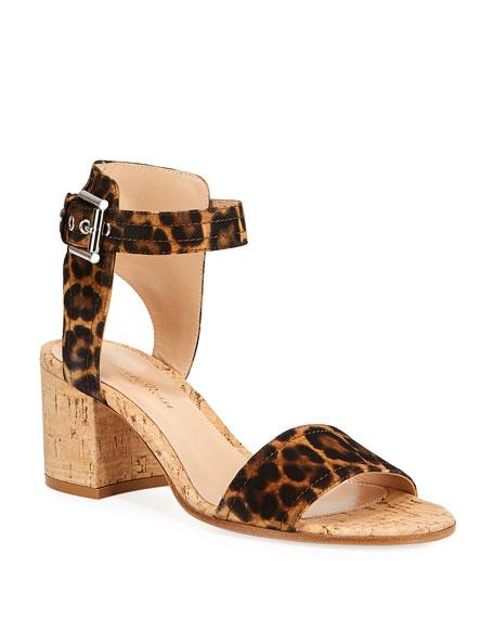 Gianvito Rossi Leopard-Print Suede Sandals