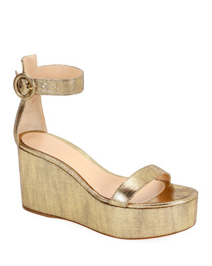 e4becc4a03ae Gianvito Rossi Metallic Leather Ankle-Strap Wedge Sandals