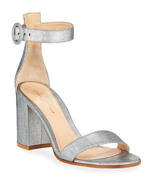 6ef0fc5ff2bc Gianvito Rossi Brushed Ankle-Strap Sandals