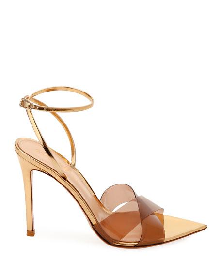 Gianvito Rossi XX Plexi Metallic Ankle-Wrap Sandals