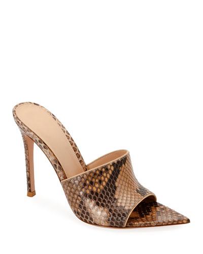 Pointed Python High-Heel Slide Sandals