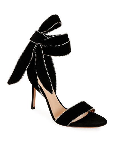 Beaded Suede Ankle-Tie Bow Sandals