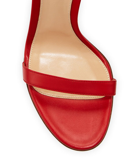 Gianvito Rossi Leather Sandals with Ankle Chain, Red