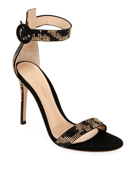 Gianvito Rossi Embellished Suede Ankle-Strap Sandals