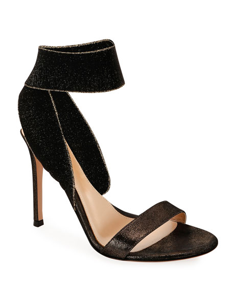Gianvito Rossi Metallic Suede Ankle-Wrap Sandals