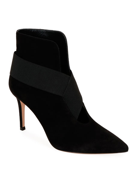 Gianvito Rossi Open-Front Suede Ankle Booties