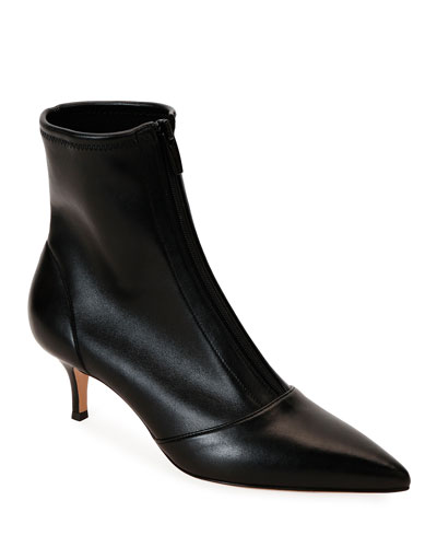 Eco Nappa Zip-Front Ankle Booties