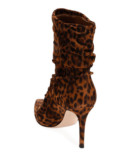 Gianvito Rossi Leopard-Print Slouchy Suede  Booties