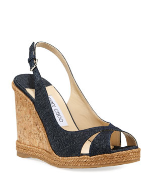 903b0c9282ce Jimmy Choo Amely Denim Cork Wedge Sandals