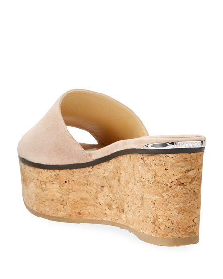 Jimmy Choo Deedee Suede Flatform Slide Sandals