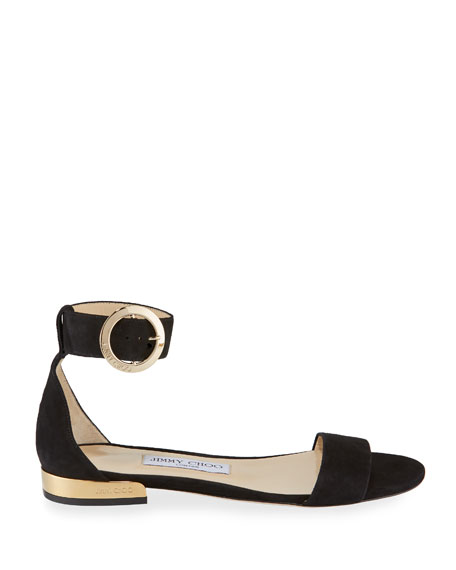 c8ccef2a2e4 Jimmy Choo Jaime Flat Suede Ankle-Strap Sandals In Black | ModeSens