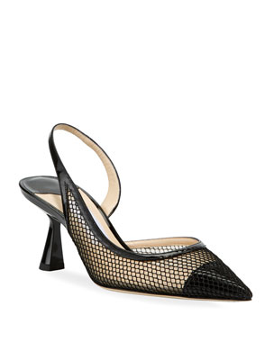 9825367fc286 Jimmy Choo Fetto Mesh Cap-Toe Slingback Pumps