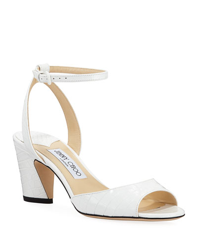 Miranda Croc-Embossed Ankle-Strap Sandals  White