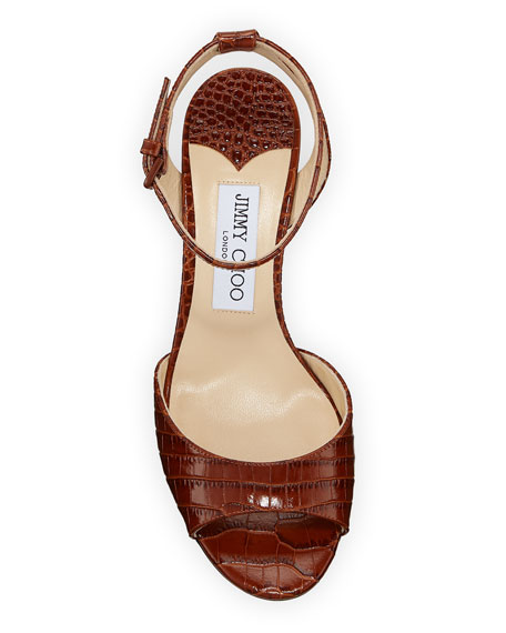 fa3de3696467 Jimmy Choo Miranda Croc-Embossed Ankle-Strap Sandals, Brown | ModeSens