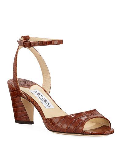 Miranda Croc-Embossed Ankle-Strap Sandals  Brown