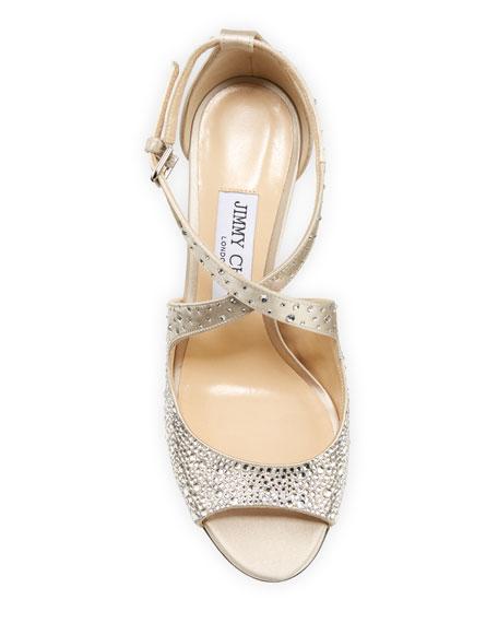 Jimmy Choo Emily Crystal-Embellished Satin Sandals