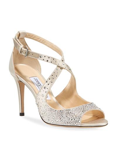Emily Crystal-Embellished Satin Sandals
