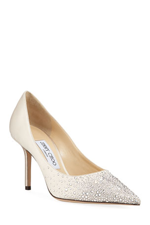 Jimmy Choo Love Crystal-Sprinkled Satin Pumps